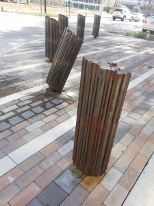 Bollard bent at Bagby